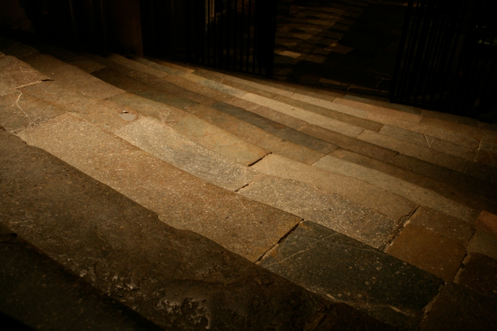 Steps worn by pilgrim feet